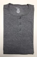 Men's Long Sleeve 3 Button Henley T Shirt Grey Made in USA S-M-L-XL-XXL NWT