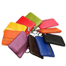 1PC Mini Unisex Leather Zip Coin Purse Key Ring Party Wallet Pouch Purse Bag New