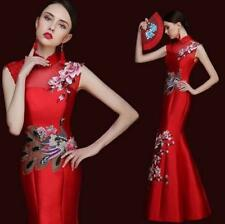 Women's Retro Slim QiPao Cheongsam Wedding Bride Fishtail Dress Evening Dress US