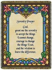 Serenity Prayer North American Made Religious Woven Tapestry Throw Blanket NEW