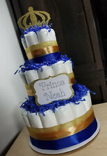 3 Tier Diaper Cake -  Blue and Gold Prince Theme Diaper Cake for Baby Shower