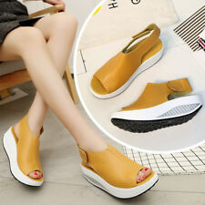 HH- Women's Summer Faux Leather Peep Toe Wedge Sandals Platform Swing Shoes Chea