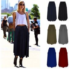 Plus Size Womens High Waist Pleated Skater Midi Skirt Layer Casual Party Skirt