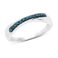 Wedding Engagement Band 0.09 ct Genuine Blue Diamond 925 Sterling Silver Ring