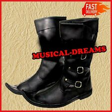 Birthday Gift Leather Boot Black Re-enactment Shoe Larp Roleplay Costume