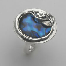 Women Fine Sterling Silver 925 Ring Nature Blue Abalone