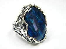 NEW Unique Sterling Silver 925 Ring Abalone Blue Shablool Women's Ring