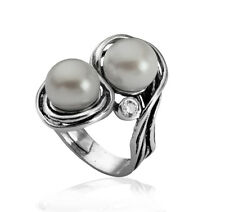 Unique Sterling Silver 925 Ring Fresh water Pearl White Shablool Jewelry