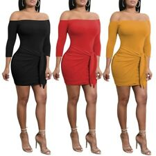 Women Long Sleeve Off Shoulder Strapless Bandage Bow Tie Solid Party Wear Dress