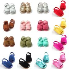 Summer Newborn Baby Girls Crib Shoes Leather Tassel Soft Sole Sandals Prewalker