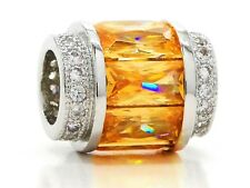 Citrine colored baguette real 925 sterling silver charm clear gem black gift box