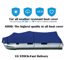 NEW 25-28Ft 600D Waterproof Heavy Duty Fabric Trailerable Pontoon Boat Cover SY
