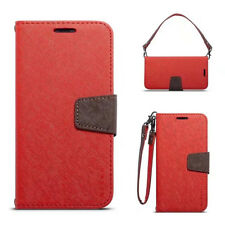 For Apple iPhone Hit Color Wallet PU Leather Card Case Stand Cover Pouch&Strap