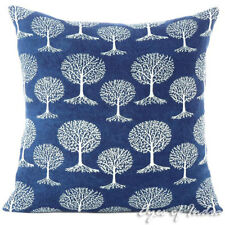 Indigo Blue Block Print Throw Couch Sofa Pillow Cover Cushion Boho Indian Bohemi
