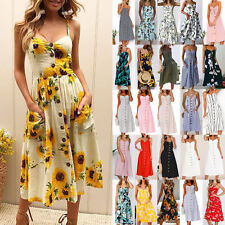 UK Summer Womens Holiday Floral Sundress Ladies Buttons Beach Party Midi Dress