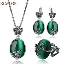 Natural Stone Green Opal Jewelry Sets Antique Black Crystal Rhinestone Leaf Pend