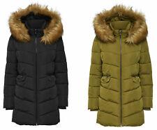Women's Winter Jacket Quilted Coat onlsanna Long Quilted Coat Olive Black