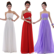 Long Strapless Chiffon Wedding Bridesmaid Formal Evening Party Dress Ball Gown