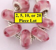 Silver & Pink Flowers Authentic Murano Glass Crystal Beads For Big Hole Bracelet