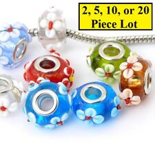 Silver & Mult Flowers Authentic Murano Glass Crystal Beads For Big Hole Bracelet