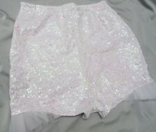 HIGH WAISTED WHITE SHORTS HOT PANTS BABY PINK SEQUIN TULLE RUFFLE S M L XL XXL
