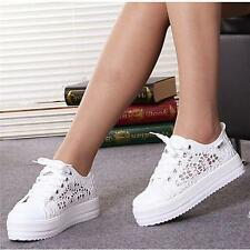 New Women Girls Lace Up Round Toe Hollow Platform Wedge Shoes Low Cut Sneaker