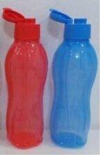 Tupperware H20 On The Go Eco Water Drink Bottle 1L with Flip Top (Blue & Red)