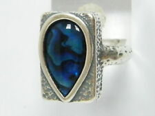 Designed 925 Sterling Silver Ring Shablool statement Blue Abalone Women's Ring
