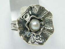 925 Sterling Silver white/blue natural fresh water pearl mix stones Ring