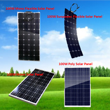 100W 12V Solar Panel Mono Poly Flexible Cell off Grid Battery Charger RV Boat