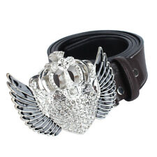 Queen Crown Wing Belt Buckle Crystal Rhinestone Leather Belt Western Cowboy