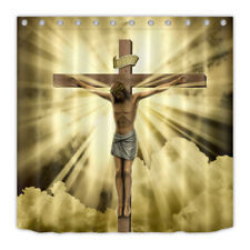 Waterproof Fabric Shower Curtain Liner Set Jesus Christ on the Cross Suffered