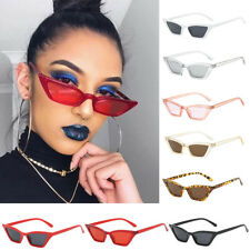 Womens Flat Lens Mirror Plastic Frame Small Cat Eye Sunglasses Glasses Eyewear