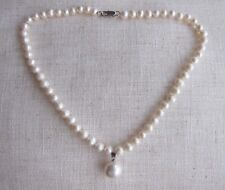 7/8 mm White Akoya Cultured Pearl Necklace & One South Sea Shell Pearl Pendant.