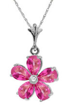 14K Solid Gold 2.22 Carat Natural Pink Topaz Diamond Necklace Wt 2.00g H 0.88in