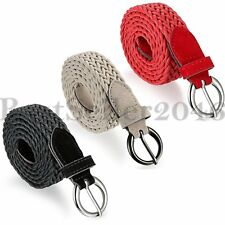 Womens Braided Elastic Woven Pin Fabric Round Buckle Belt Waistband Waist Strap