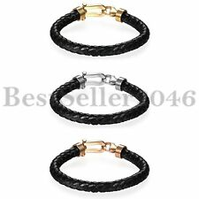8MM Mens Braided Leather Bracelet Cuff Bangle Wristband Stainless Steel Clasp
