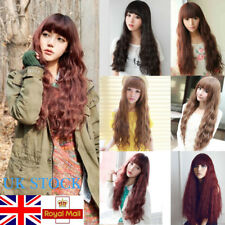 Women Long Linen Wig Full Curly Ombre Hair Wavy Synthetic Wigs Cosplay Costume