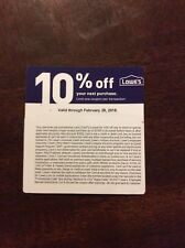 LOWES 10% OFF COUPON expiration Feb 28 physical coupon will be sent by mail