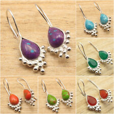925 Silver Plated Highly Polished NEW Earrings ! Drop Gemstone Jewelry