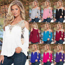 UK Womens Blouse Off Shoulder Long Sleeve Ladies Summer T Shirt Lace Casual Tops