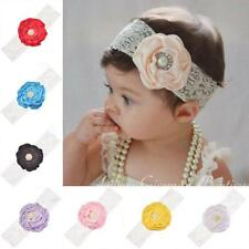 Multi-color Baby Girl Lace Imitate Pearl Flower Head Band Hair L