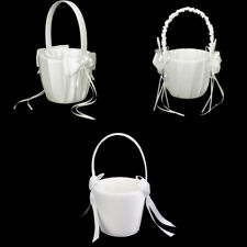 Elegant Satin Pearls Bow Flower Girl Basket Wedding Party Accessories - Ivory