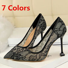 Lace Shoes Women Pumps Pointed Toe Shallow Stilettos High Heel Dress Party Work