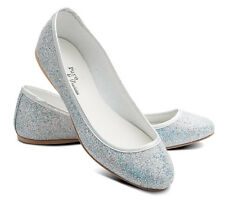 Ladies Girls Silver Glitter Wedding Bridesmaid Party Ballerina Pump Shoes Lucy