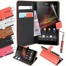 For Sony Xperia Z1 Case Leather Wallet Credit Cards Cover