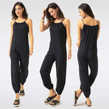 Fashion Women Spaghetti Strap Jumpsuit Summer Sleeveless Casual Trousers Overall