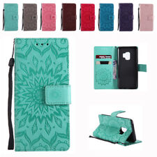 Emboss Sunflower Flip Wallet PU Leather Magnetic Cover Case For Samsung S9 Plus