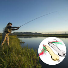 1 Pcs Spoon Fishing Lure With Feather Hooks Gold/Silver 5g-20g Metal Bait Tackle