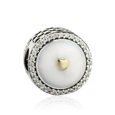 Authentic 925 sterling-silver Two Tone Precious Heart Charm Enamel Charms Beads